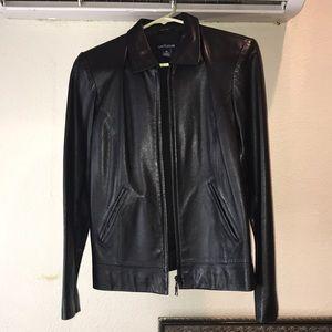 Ann Taylor leather jacket in black.